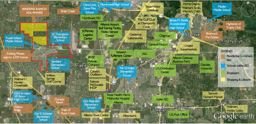Sendera Ranch area map